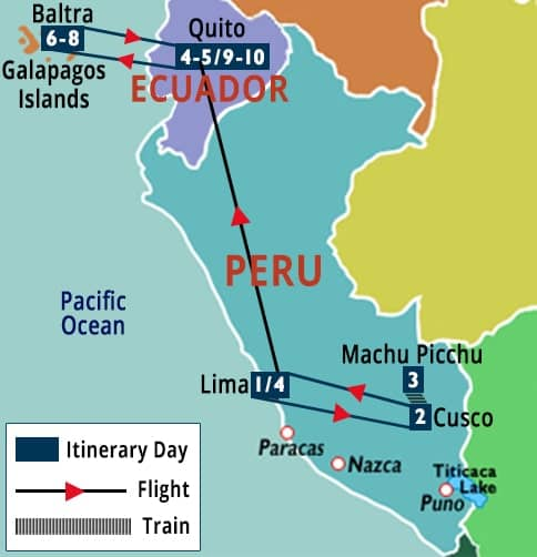 Machu Picchu, Quito & Galapagos Cruise Map