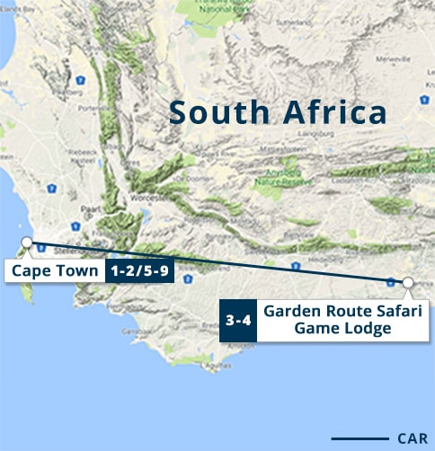 Cape Town & Garden Route Safari Tour Map