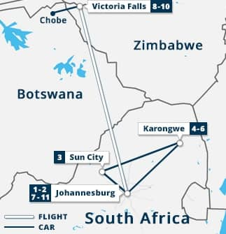 South Africa Highlights, Victoria Falls Chobe Map