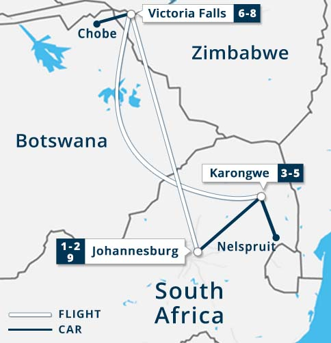 South Africa - Victoria Falls - Chobe Map
