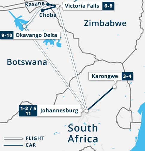 South Africa - Victoria Falls - Chobe - Okavango Map