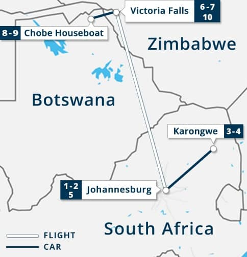 South Africa - Victoria Falls - Chobe River House Boat Map