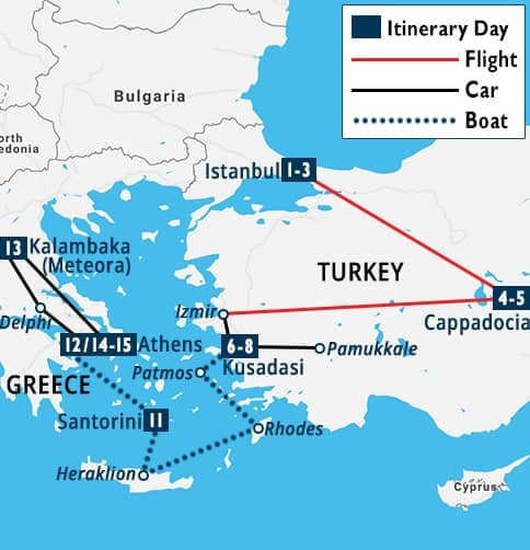 Best of Turkey & Greece Tour Map