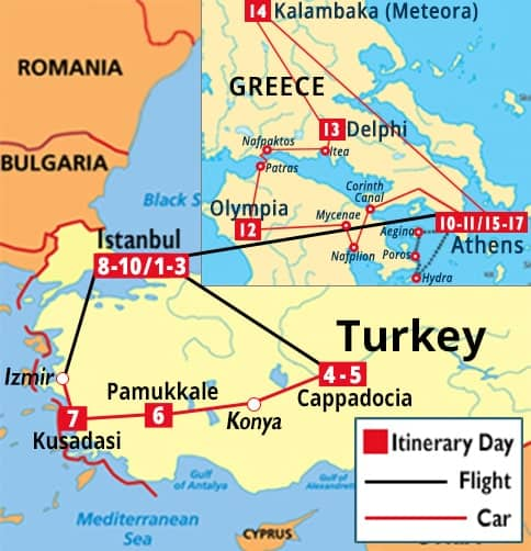 Classic Turkey & Athens, Olympia, Delphi, Meteora, and Hydra Tour Map