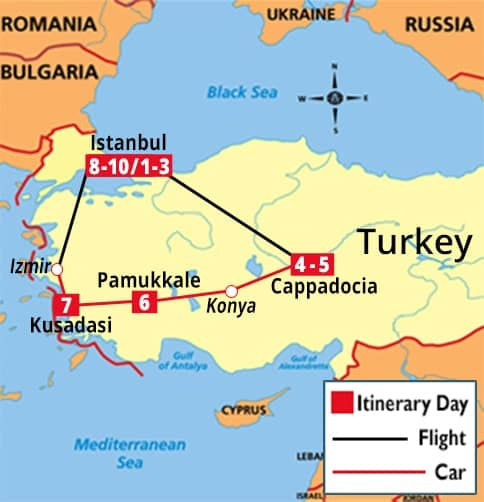 Classic Turkey Tour Map