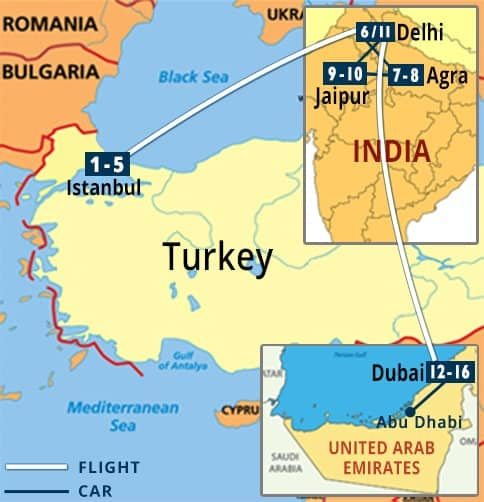 Turkey - India - Dubai Tour Map