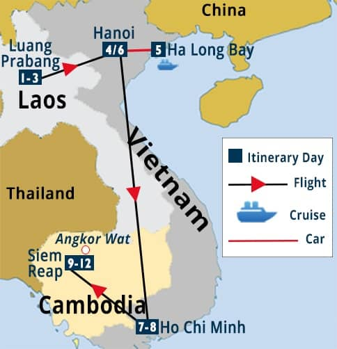 Vietnam - Laos - Cambodia Tour Map